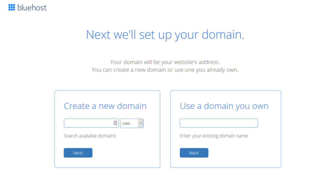 Choose a domain name for your new website or let Bleuhost transfer a domain that you already own from another provider.